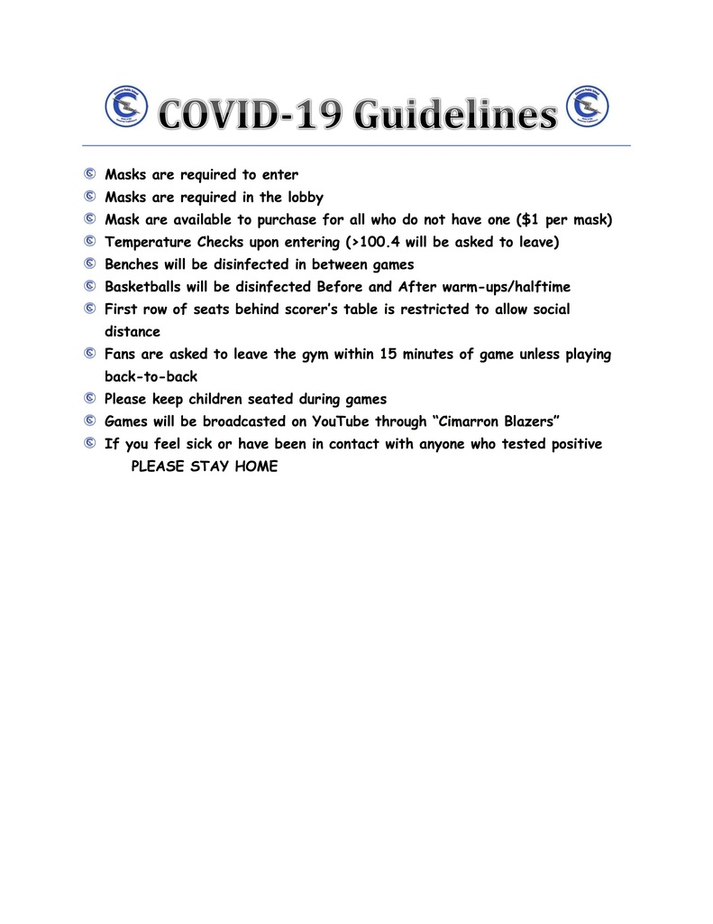 Cimarron Tournament Covid Protocol