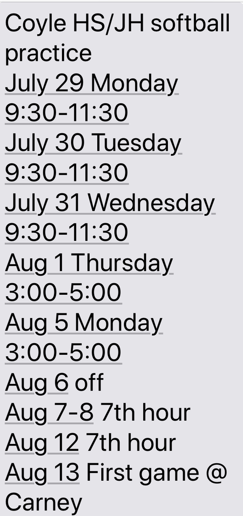 Coyle Softball Practice Dates