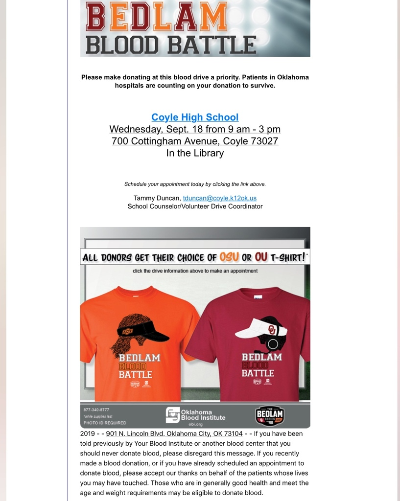 Coyle Bedlam Blood Drive Flyer