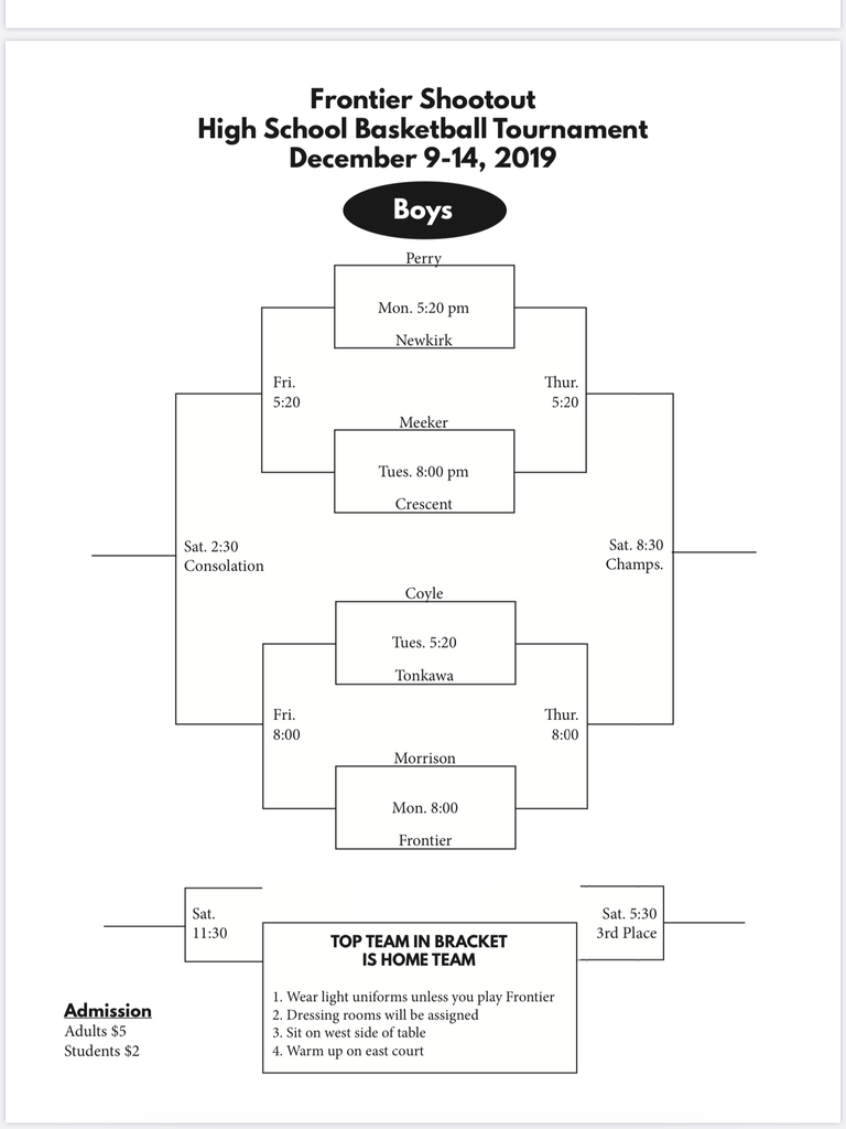 Frontier Tournament Boys Bracket